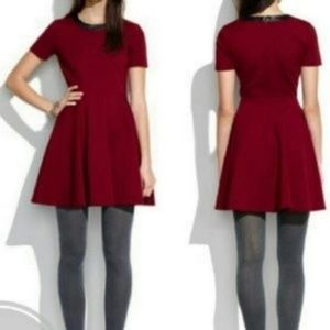 Madewell dark red skater dress with leather trim